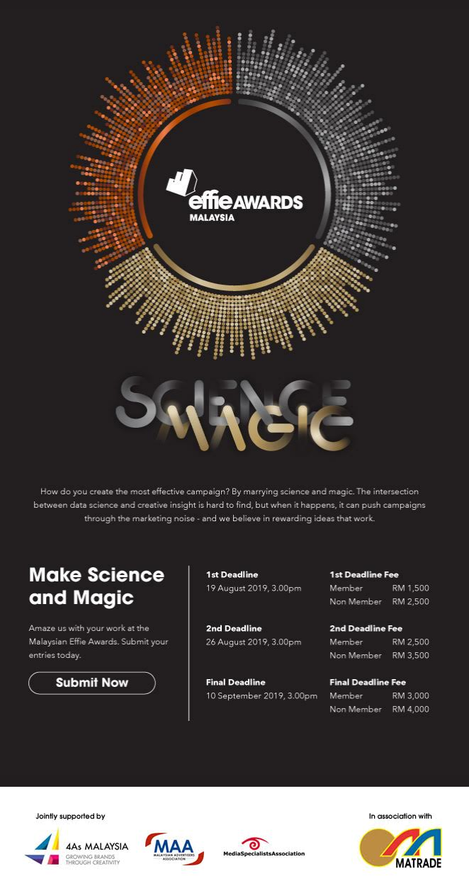 MALAYSIA EFFIE AWARDS 2019 - CALL FOR ENTRIES: MAKE SCIENCE AND MAGIC
